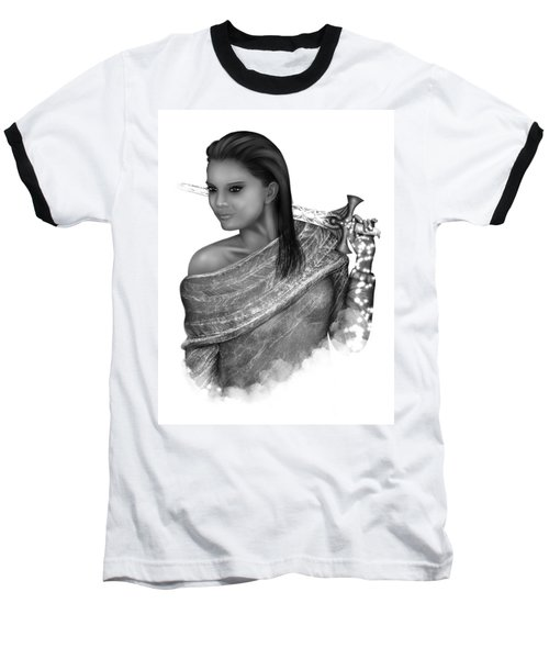 Baseball T-Shirt featuring the painting After The Battle Black And White Female Fantasy Art by Raphael Lopez