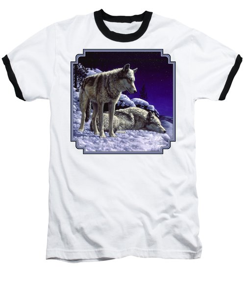 Wolf Painting - Night Watch Baseball T-Shirt