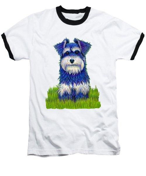 Colorful Miniature Schnauzer Dog Baseball T-Shirt