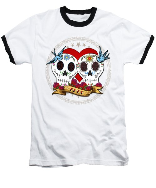 Baseball T-Shirt featuring the drawing Love Skulls II by Tammy Wetzel