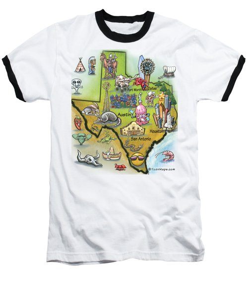 Texas Cartoon Map Baseball T-Shirt
