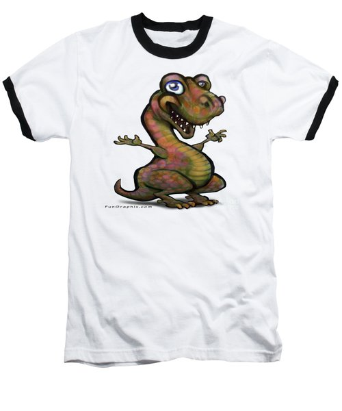 Baseball T-Shirt featuring the painting Baby T-rex Blue by Kevin Middleton