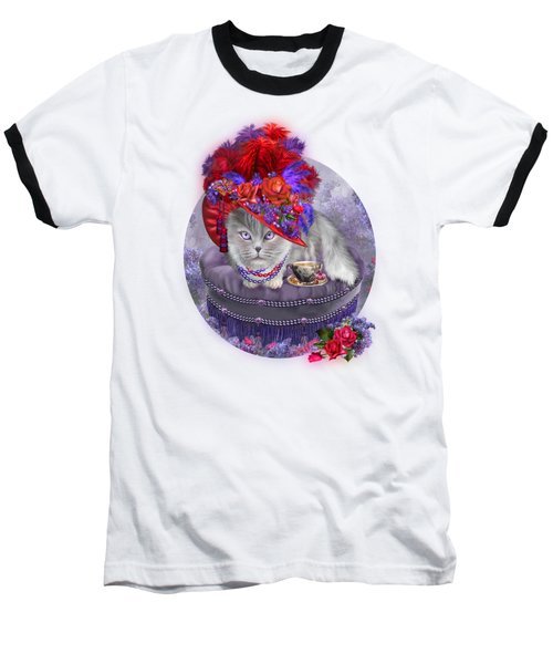 Baseball T-Shirt featuring the mixed media Cat In The Red Hat by Carol Cavalaris