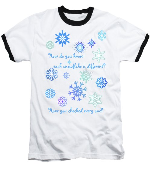 Snowflakes Baseball T-Shirt by Methune Hively