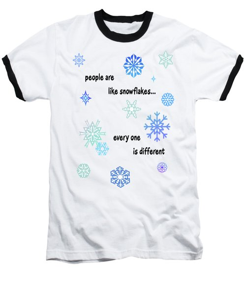 Snowflakes 3 Baseball T-Shirt by Methune Hively