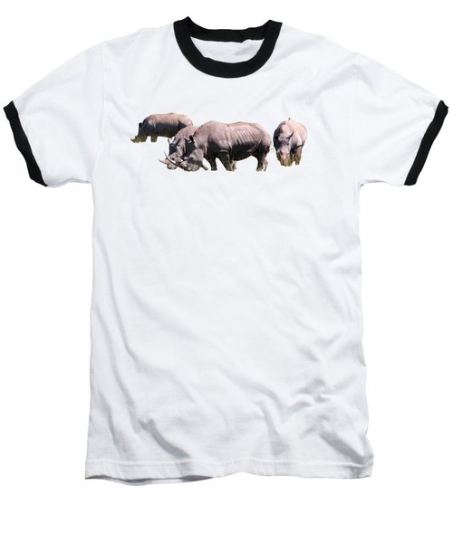 Baseball T-Shirt featuring the photograph Group Of White Rhino by Aidan Moran