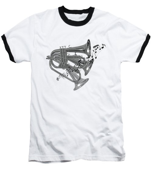 Trumpet Fanfare Black And White Baseball T-Shirt by Gill Billington