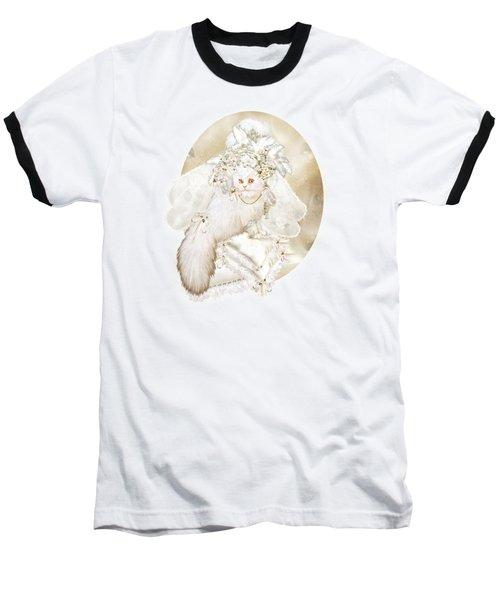 Baseball T-Shirt featuring the mixed media Cat In Fancy Bridal Hat by Carol Cavalaris