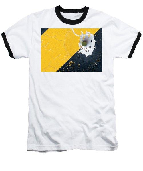 Bullet Hole On The Yellow Black Line Baseball T-Shirt