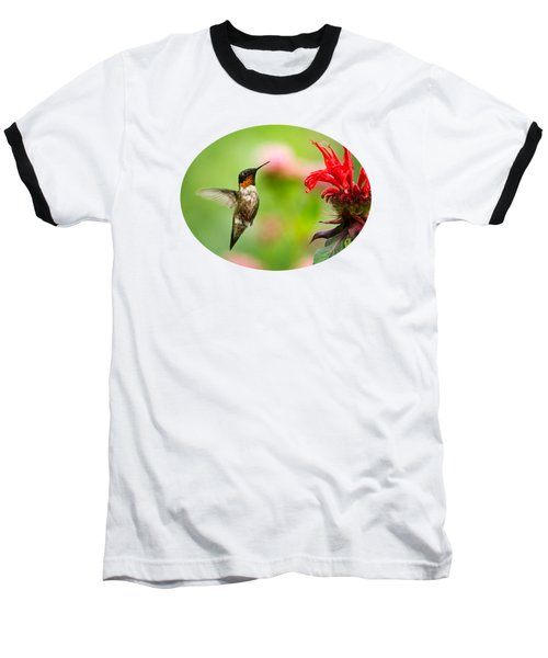 Male Ruby-throated Hummingbird Hovering Near Flowers Baseball T-Shirt
