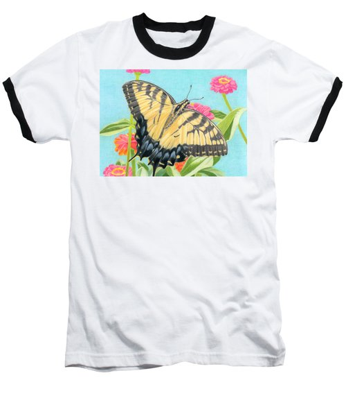 Swallowtail Butterfly And Zinnias Baseball T-Shirt by Sarah Batalka