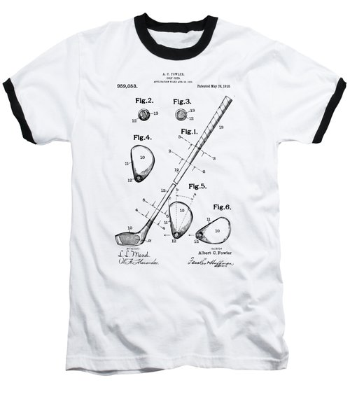 Vintage 1910 Golf Club Patent Artwork Baseball T-Shirt by Nikki Marie Smith