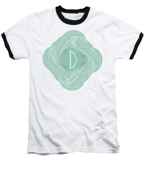 1920s Blue Deco Jazz Swing Monogram ...letter D Baseball T-Shirt
