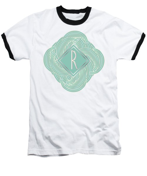 1920s Blue Deco Jazz Swing Monogram ...letter R Baseball T-Shirt