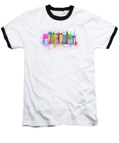 Atlanta Skyline Paint Splatter Illustration Baseball T-Shirt