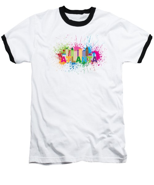 Atlanta Skyline Paint Splatter Text Illustration Baseball T-Shirt