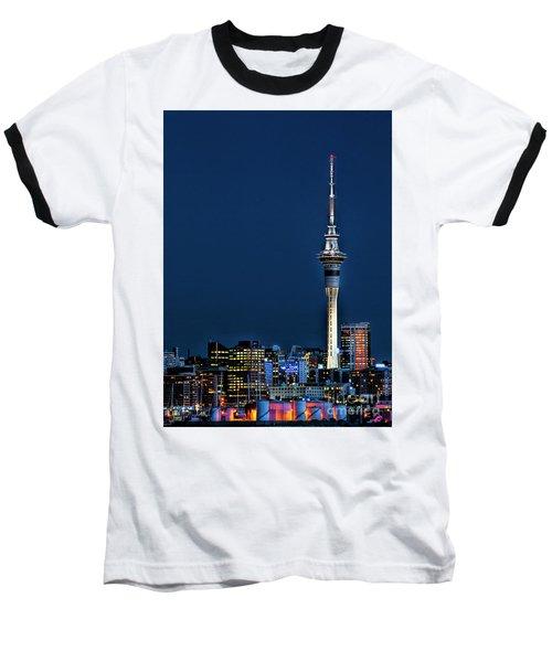 Auckland Skytower Baseball T-Shirt by Karen Lewis