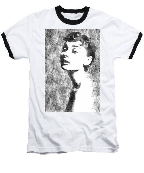 Audrey Hepburn Bw Portrait Baseball T-Shirt by Mihaela Pater