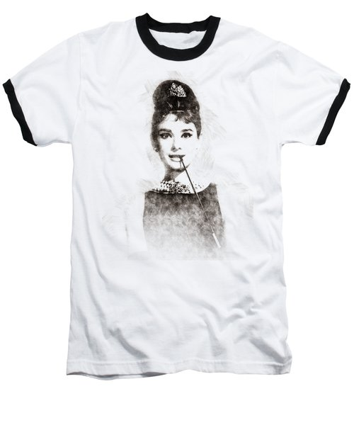 Audrey Hepburn Portrait 01 Baseball T-Shirt by Pablo Romero