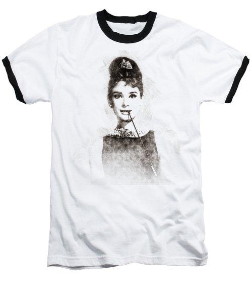 Audrey Hepburn Portrait 01 Baseball T-Shirt
