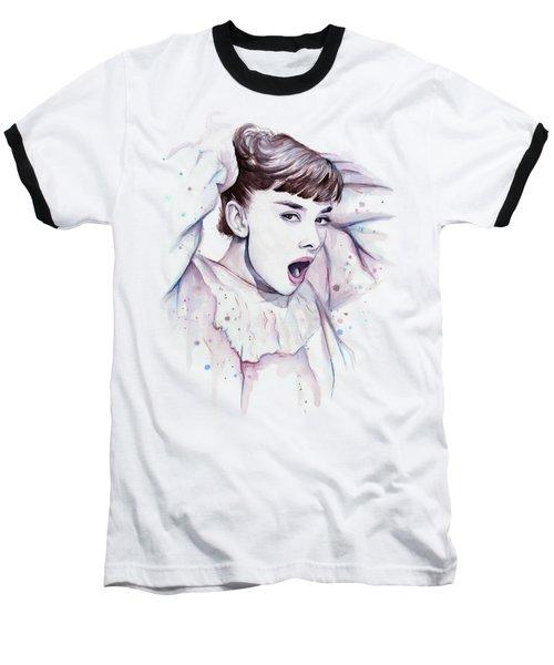 Audrey - Purple Scream Baseball T-Shirt by Olga Shvartsur