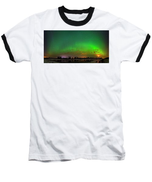 Aurora Over Pond Panorama Baseball T-Shirt by Dan Jurak