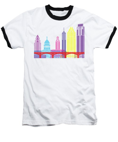 Austin Skyline Pop Baseball T-Shirt