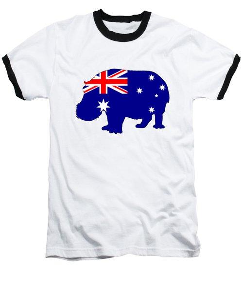 Australian Flag - Hippopotamus Baseball T-Shirt