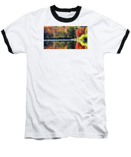 Baseball T-Shirt featuring the photograph Autumn At Laurel Lake by Angela Davies