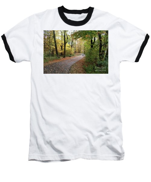 Autumn Bicycling Baseball T-Shirt by Felipe Adan Lerma