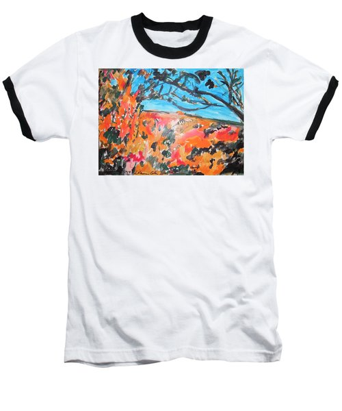 Baseball T-Shirt featuring the painting Autumn Flames by Esther Newman-Cohen