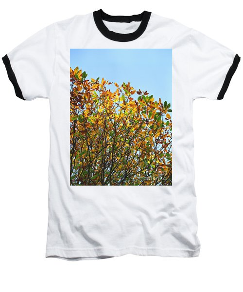 Baseball T-Shirt featuring the photograph Autumn Flames - Original by Rebecca Harman