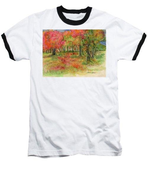 Autumn Forest Watercolor Illustration Baseball T-Shirt