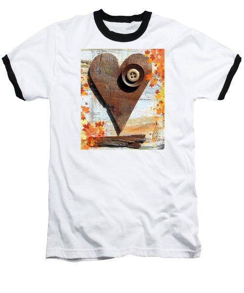 Autumn Heart Baseball T-Shirt by France Laliberte