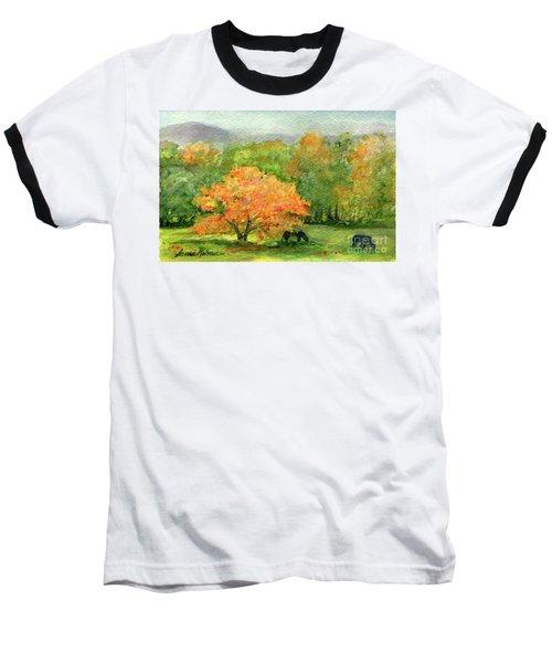 Autumn Maple With Horses Grazing Baseball T-Shirt