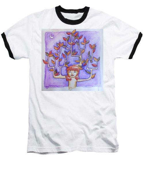 Autumn Moon Baseball T-Shirt by Whitney Morton