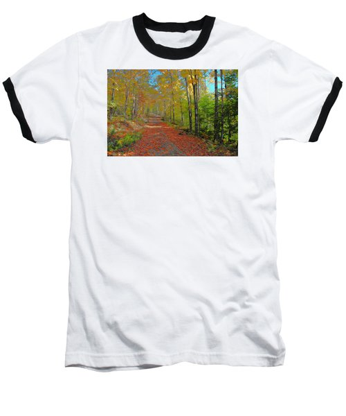 Autumn Walk Baseball T-Shirt by John Selmer Sr