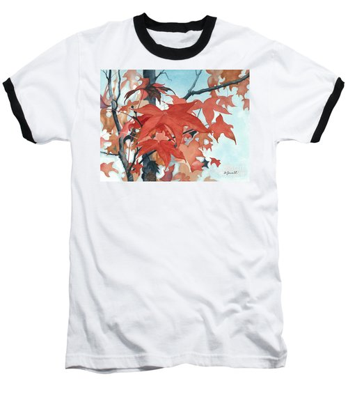 Baseball T-Shirt featuring the painting Autumn's Artistry by Barbara Jewell