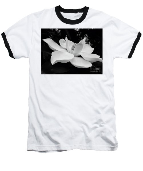 B W Magnolia Blossom Baseball T-Shirt