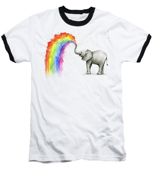 Baby Elephant Spraying Rainbow Baseball T-Shirt