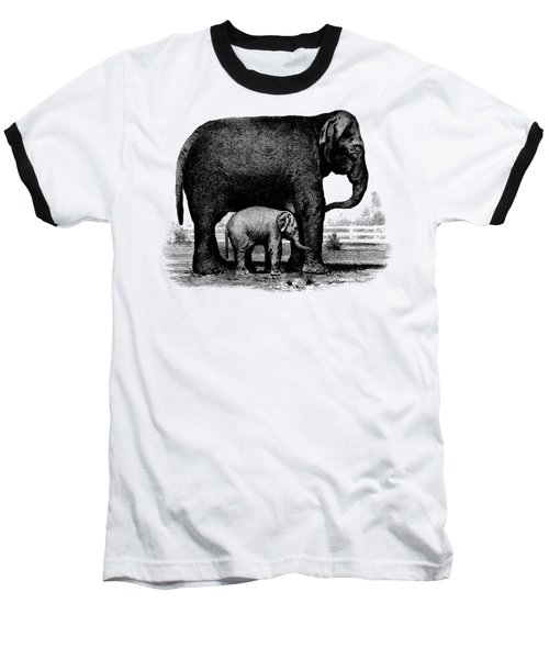 Baby Elephant T-shirt Baseball T-Shirt by Edward Fielding