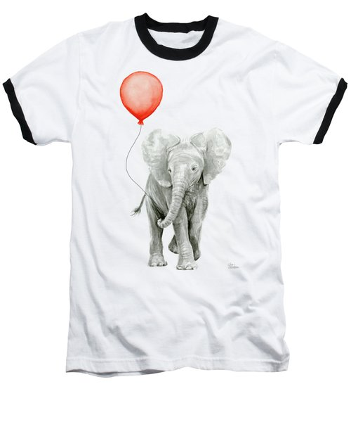 Baby Elephant Watercolor Red Balloon Baseball T-Shirt