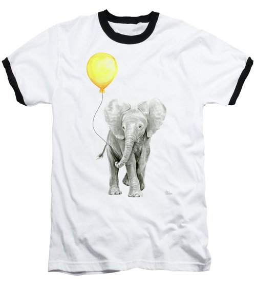 Baby Elephant Watercolor With Yellow Balloon Baseball T-Shirt