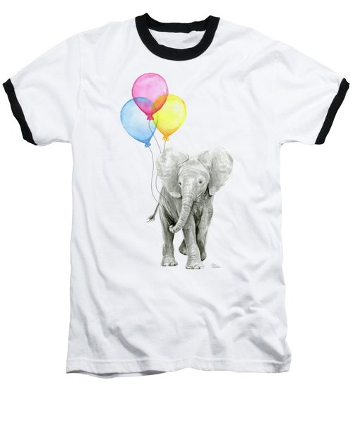 Baby Elephant With Baloons Baseball T-Shirt by Olga Shvartsur