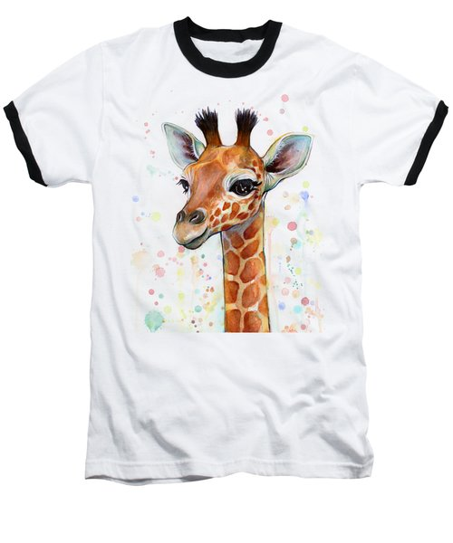 Baby Giraffe Watercolor  Baseball T-Shirt