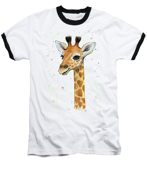 Baby Giraffe Watercolor With Heart Shaped Spots Baseball T-Shirt