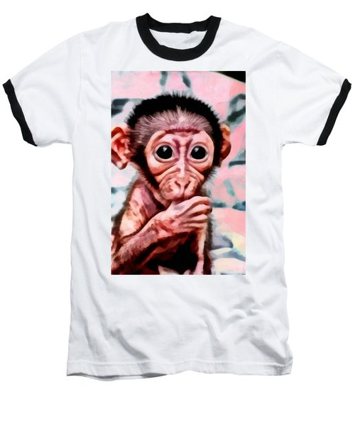 Baby Monkey Realistic Baseball T-Shirt