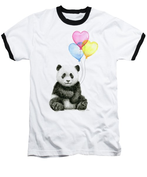 Baby Panda With Heart-shaped Balloons Baseball T-Shirt by Olga Shvartsur