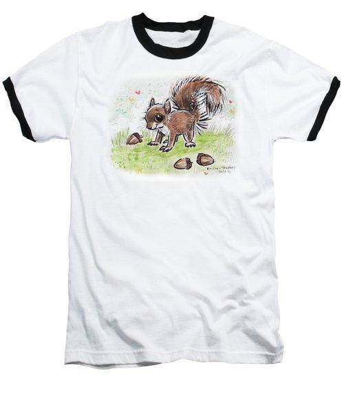 Baby Squirrel Baseball T-Shirt by Maria Bolton-Joubert