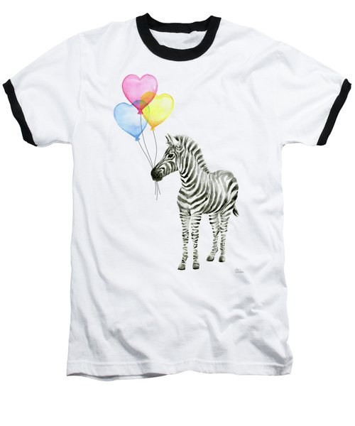 Baby Zebra Watercolor Animal With Balloons Baseball T-Shirt